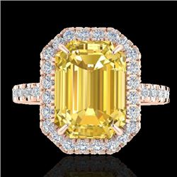 4.50 CTW Citrine And Micro Pave VS/SI Diamond Halo Ring 14K Rose Gold - REF-49W8F - 21422