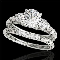 1.35 CTW H-SI/I Certified Diamond 3 Stone Ring 10K White Gold - REF-174H5A - 35430