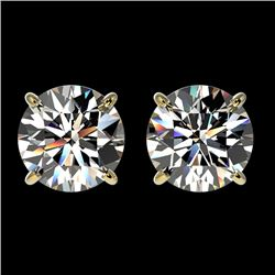 2.05 CTW Certified H-SI/I Quality Diamond Solitaire Stud Earrings 10K Yellow Gold - REF-285A2X - 366