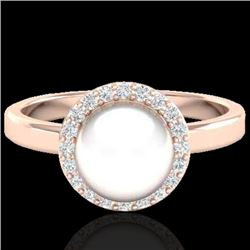 0.25 CTW Micro Pave Halo VS/SI Diamond & White Pearl Ring 14K Rose Gold - REF-40M9H - 21645