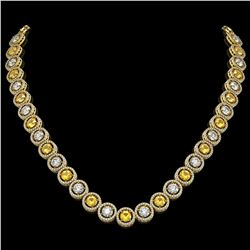 31.64 CTW Canary Yellow & White Diamond Designer Necklace 18K Yellow Gold - REF-4472M8H - 42598