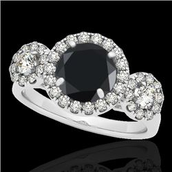 1.75 CTW Certified VS Black Diamond Solitaire Halo Ring 10K White Gold - REF-87W8F - 33286