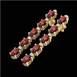 10.36 CTW Garnet & VS/SI Certified Diamond Tennis Earrings 10K Yellow Gold - REF-53X3T - 29398