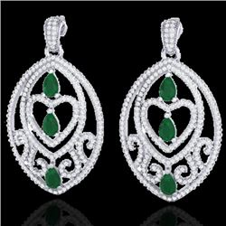 7 CTW Emerald & Micro Pave VS/SI Diamond Heart Earrings Designer 18K White Gold - REF-381W8F - 21153