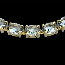 45 CTW Aquamarine Eternity Designer Inspired Tennis Necklace 14K Yellow Gold - REF-418F5N - 23400