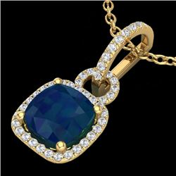 3 CTW Sapphire & Micro VS/SI Diamond Necklace 18K Yellow Gold - REF-72K5W - 22991