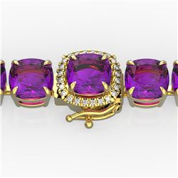 46 CTW Amethyst & Micro Pave VS/SI Diamond Halo Bracelet 14K Yellow Gold - REF-157X3T - 23298