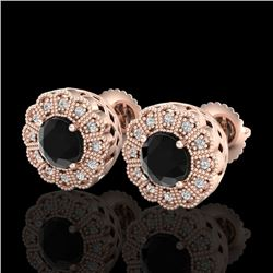 1.32 CTW Fancy Black Diamond Solitaire Art Deco Stud Earrings 18K Rose Gold - REF-100W2F - 37836