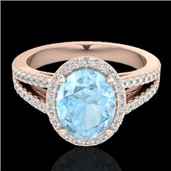 3 CTW Aquamarine & Micro VS/SI Diamond Halo Solitaire Ring 14K Rose Gold - REF-77N8Y - 20929