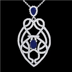 3.50 CTW Sapphire & Micro VS/SI Diamond Heart Necklace Solitaire 14K White Gold - REF-180W2F - 21252