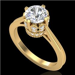 1.5 CTW VS/SI Diamond Art Deco Ring 18K Yellow Gold - REF-399Y3K - 36832