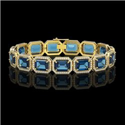35.61 CTW London Topaz & Diamond Halo Bracelet 10K Yellow Gold - REF-337M3H - 41560