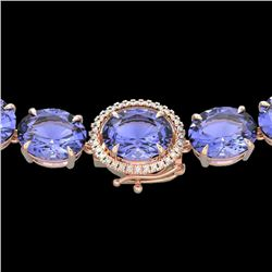 170 CTW Tanzanite & VS/SI Diamond Halo Micro Eternity Necklace 14K Rose Gold - REF-3163H6A - 22316