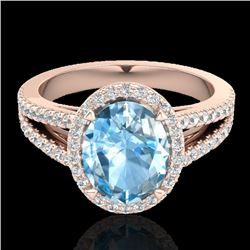 3 Sky Blue Topaz & Micro VS/SI Diamond Halo Solitaire Ring 14K Rose Gold - REF-60A9X - 20932