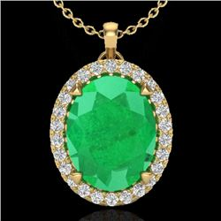 2.75 CTW Emerald & Micro VS/SI Diamond Halo Solitaire Necklace 18K Yellow Gold - REF-60W2F - 20588