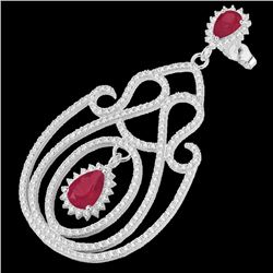 6.40 CTW Ruby & Micro Pave VS/SI Diamond Earrings 14K White Gold - REF-303F5N - 22427
