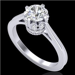 1.14 CTW VS/SI Diamond Art Deco Ring 18K White Gold - REF-220M5H - 36827