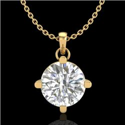 1 CTW VS/SI Diamond Solitaire Art Deco Stud Necklace 18K Yellow Gold - REF-345K5W - 37234