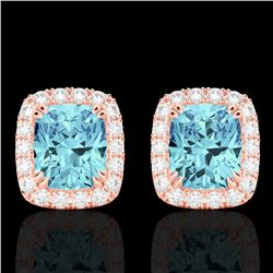 2.50 CTW Sky Blue Topaz & Micro VS/SI Diamond Halo Earrings 10K Rose Gold - REF-41F3N - 22873