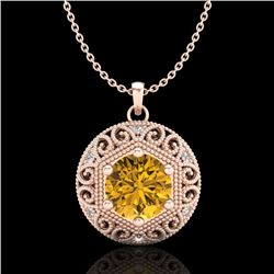 1.11 CTW Intense Fancy Yellow Diamond Art Deco Stud Necklace 18K Rose Gold - REF-236T4M - 37568