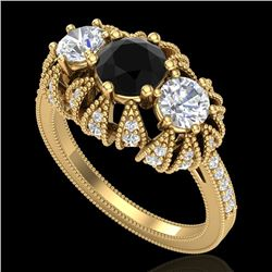 2.26 CTW Fancy Black Diamond Solitaire Art Deco 3 Stone Ring 18K Yellow Gold - REF-218H2A - 37746