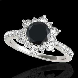 2.19 CTW Certified VS Black Diamond Solitaire Halo Ring 10K White Gold - REF-98Y2K - 33718