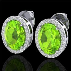 5.50 CTW Peridot & Micro VS/SI Diamond Halo Earrings 18K White Gold - REF-72A5X - 20255