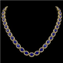 52.15 CTW Sapphire & Diamond Halo Necklace 10K Yellow Gold - REF-655W3F - 40561
