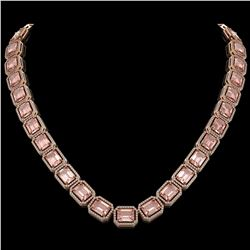 81.64 CTW Morganite & Diamond Halo Necklace 10K Rose Gold - REF-1728M2H - 41487