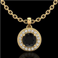 1 CTW Fancy Black Diamond Solitaire Art Deco Stud Necklace 18K Yellow Gold - REF-98W2F - 37662