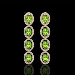 5.88 CTW Peridot & Diamond Halo Earrings 10K Yellow Gold - REF-112A5X - 40531