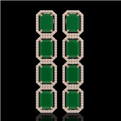 20.59 CTW Emerald & Diamond Halo Earrings 10K Rose Gold - REF-248M2H - 41571
