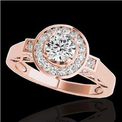 1.5 CTW H-SI/I Certified Diamond Solitaire Halo Ring 10K Rose Gold - REF-180F2N - 34568