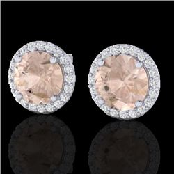 3 CTW Morganite & Halo VS/SI Diamond Micro Pave Earrings Solitaire 18K White Gold - REF-81W3F - 2149
