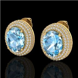 10 CTW Sky Blue Topaz & Micro Pave VS/SI Diamond Earrings 18K Yellow Gold - REF-152T4M - 20219