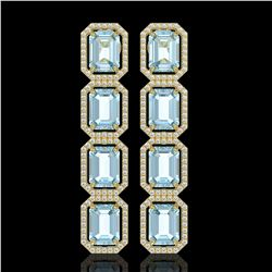 18.99 CTW Sky Topaz & Diamond Halo Earrings 10K Yellow Gold - REF-178T2M - 41602