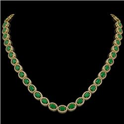 34.11 CTW Emerald & Diamond Halo Necklace 10K Yellow Gold - REF-562M9H - 40402