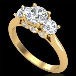 1.5 CTW VS/SI Diamond Solitaire Art Deco 3 Stone Ring 18K Yellow Gold - REF-272Y8K - 37315