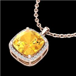 6 CTW Citrine & Micro Pave Halo VS/SI Diamond Necklace Solitaire 14K Rose Gold - REF-50W9F - 23077