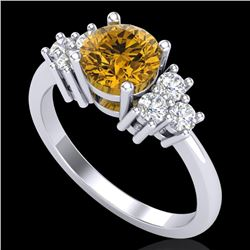 1.5 CTW Intense Fancy Yellow Diamond Solitaire Classic Ring 18K White Gold - REF-218W2F - 37602