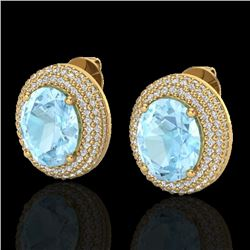8 CTW Aquamarine & Micro Pave VS/SI Diamond Earrings 18K Yellow Gold - REF-204N9Y - 20216