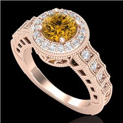 1.53 CTW Intense Fancy Yellow Diamond Engagement Art Deco Ring 18K Rose Gold - REF-263N6Y - 37652