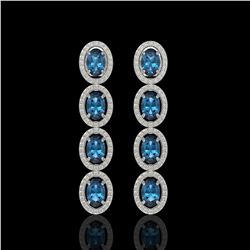 6.28 CTW London Topaz & Diamond Halo Earrings 10K White Gold - REF-104F5N - 40538