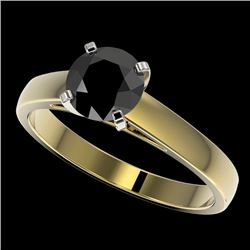 1.25 CTW Fancy Black VS Diamond Solitaire Engagement Ring 10K Yellow Gold - REF-32N5Y - 33005
