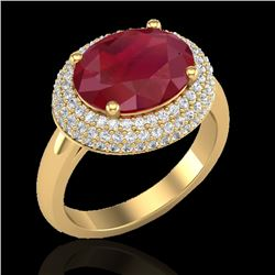 4.50 CTW Ruby & Micro Pave VS/SI Diamond Ring 18K Yellow Gold - REF-119Y6K - 20923