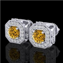 2.75 CTW Intense Fancy Yellow Diamond Art Deco Stud Earrings 18K White Gold - REF-290H9A - 38288