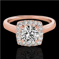 1.37 CTW H-SI/I Certified Diamond Solitaire Halo Ring 10K Rose Gold - REF-167T3M - 33410