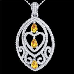 3.50 CTW Yellow Sapphire & Micro VS/SI Diamond Heart Necklace 18K White Gold - REF-218F2N - 21300