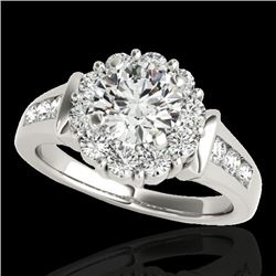 1.9 CTW H-SI/I Certified Diamond Solitaire Halo Ring 10K White Gold - REF-206M4H - 34292
