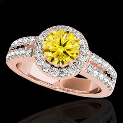 1.5 CTW Certified Si/I Fancy Intense Yellow Diamond Solitaire Halo Ring 10K Rose Gold - REF-180F2N -